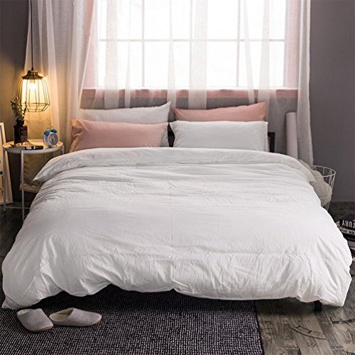 MooMee Duvet Cover Set Solid Off White Washed Cotton Home Bedding Collection 3 Pieces Includes 1 Comforter Cover 2 Pillow Shams Soft Classic Simple Queen Size (Pillow Shams Collection Queen)