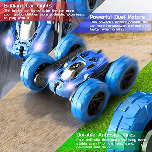RC Stunt Car for Kids SHARKOOL 360°Flips Double Sided Rotating 4WD 2.4Ghz Car