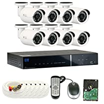 GW Security 8 Channel HDMI CCTV 1.3MP Security Surveillance DVR System with 8 x 1300TVL 720p High Resolution Weatherproof Security Cameras and Pre-Installed 2TB Hard Drive