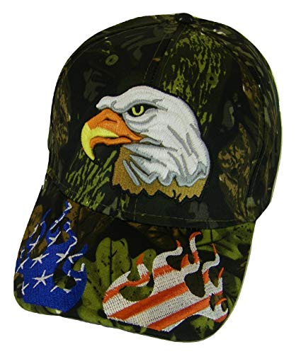 USA Men's Patriotic Eagle Adjustable Baseball Cap (Flames ()