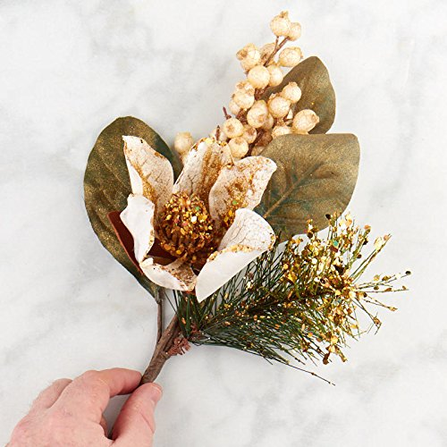 Factory Direct Craft Artificial Gold Glittered Magnolia Floral Stem Artificial Flower for Your Christmas Holiday Decorations
