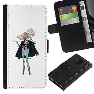 JackGot ( Pink Hair Siamese Twins Arte Pintura Outfit ) Samsung Galaxy S5 V SM-G900 la tarjeta de Crédito Slots PU Funda de cuero Monedero caso cubierta de piel