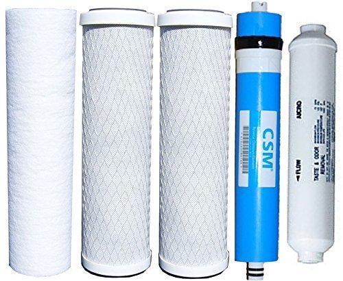 Watts Reverse Osmosis Replacement Filter Set 5 pcs w/ CSM 50 GPD Membrane by CSM