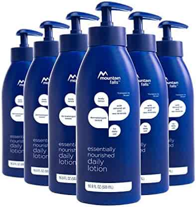 Mountain Falls Essentially Nourished Daily Moisturizing Body Lotion with Almond Oil and Sea Minerals, Compare to Nivea, 16.89 Fluid Ounce (Pack of 6)