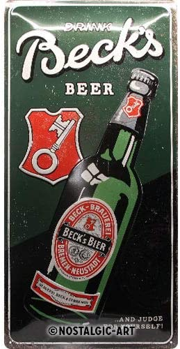Nostalgic-Art 27027 Beck's Beer Bottle - Letrero de Lata 25 x 50 cm 25 x 50 cm Multicolor