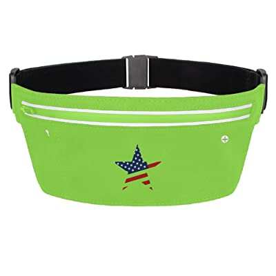 USA Flag Star Running Belt Funny Waist Pack Zipper Pockets
