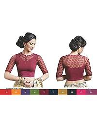 Maroon Colour Stretchable Lycra Cotton Ready-made Saree Blouse Sari Choli Crop SHRI BALAJI (L,XL)