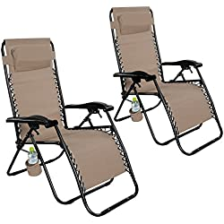 Giantex Folding Lounge Chairs Recliner Zero Gravity Outdoor Beach Patio Garden (2Tan)
