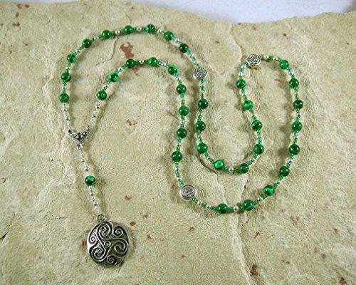 Danu Prayer Bead Necklace in Reconstituted Malachite: Irish Celtic Mother Goddess