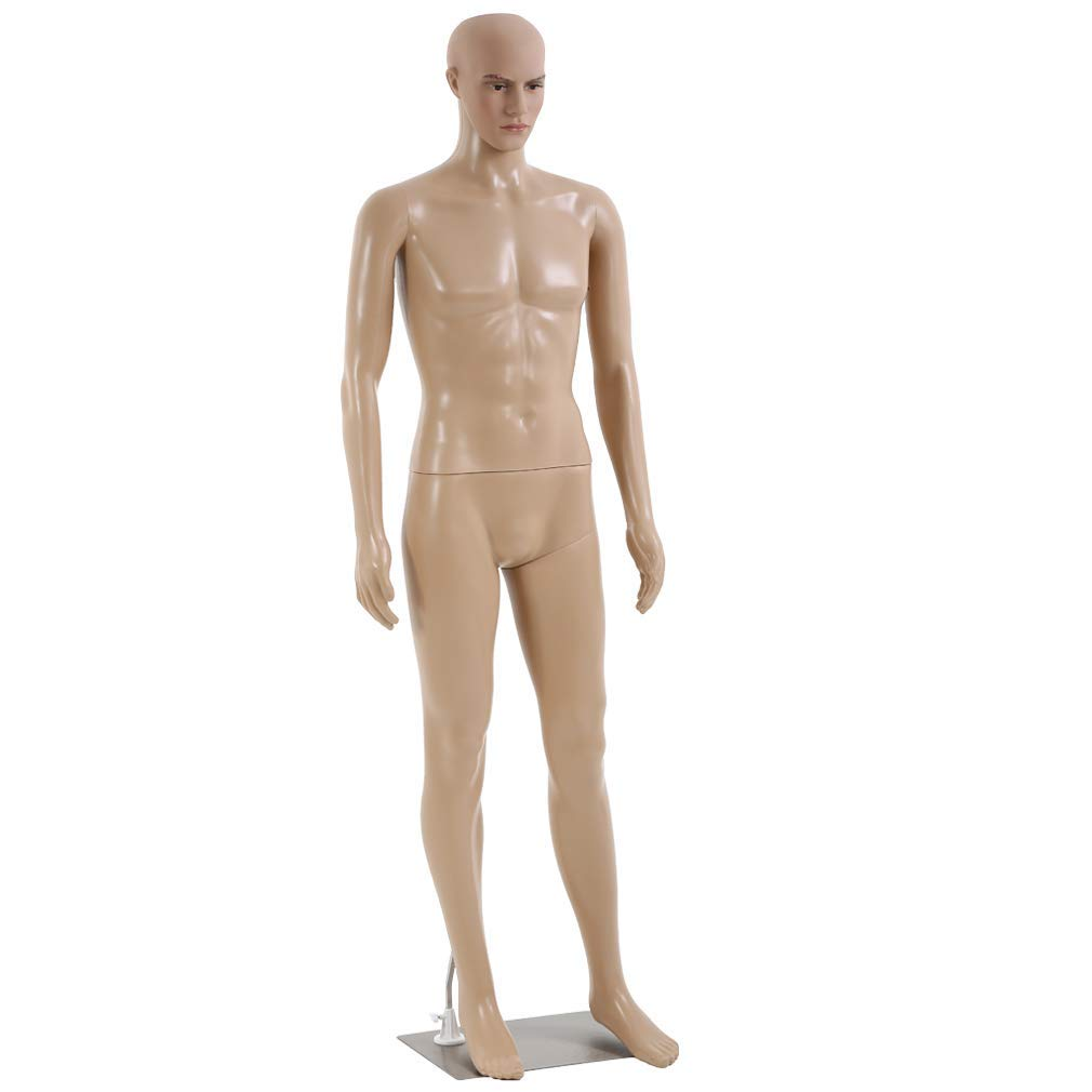 Mannequin Manikin Dress Form 73 inch Dress Model Adjustable Full Male Body Realistic Mannequin Display Head Turns W/Metal Base Mannequin Stand Torso (Renewed)