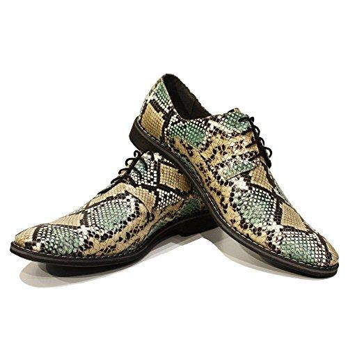 Modello Sleeko - 43 EU - Cuero Italiano Hecho A Mano Hombre Piel Verde Zapatos Vestir Oxfords - Piel de Cabra Cuero Repujado - Encaje 5om1wUmAmp