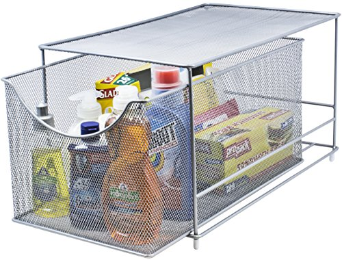 Sorbus Cabinet Organizer Drawer with Cover-Mesh Storage Organizer w/ Pull Out Drawers-Stackable, Ideal for Countertop, Cabinet, Pantry, Under the Sink, Desktop and More (Silver Bottom Drawer)