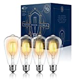 Edison LED Light Bulbs - Dimmable - Vintage Style Warm Filament 4W (40 Watt Equivalent) - UL Listed - ST64 - Color 2300K - E26 Medium Base (4 PACK)