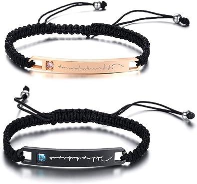 Personalized Couple Men Women Leather Stainless Steel Custom Bracelet Adjustable