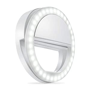 Whellen l184 Selfie Ring Light with 36 LED Bulbs, Flash Lamp Clip Ring Lights Fill-in Lighting Portable for Phone/Tablet/iPad/Laptop Camera - White