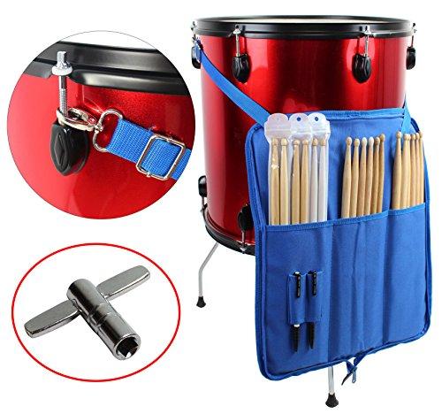 YMC DSB10-BU 10mm Foam Drumstick Bag Holder Mallet Bag with A Drum Key -Blue