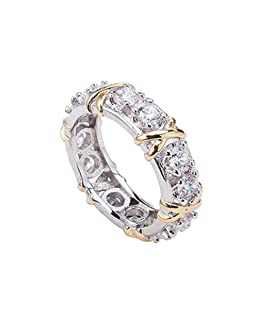 yibenwanligod Fashion Full Cubic Zirconia CZ Cross White Gold Plated Ring Lady Wedding Jewelry (Weiß 8)