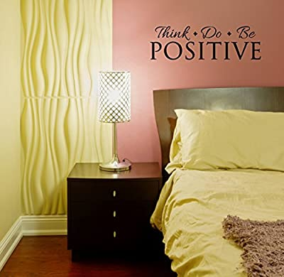 "Wall Decor Plus More WDPM3400 Think Do Be Positive Inspirational Wall Decal Quote Vinyl Sticker for Home Office or Gym Decor, 23"" x 7"", Black"