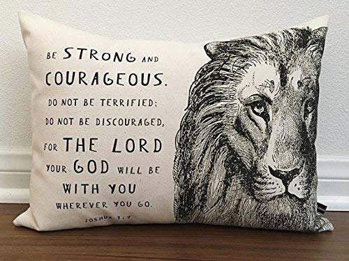 alerie Sassoon Christian Lion Scripture Pillow Cover Joshua 1:9 Prayer Cushion 12x16 Cotton Canvas Bible Christian Gift