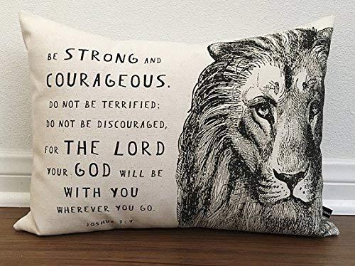 alerie Sassoon Christian Lion Scripture Pillow Cover Joshua 1:9 Prayer Cushion 12x16 Cotton Canvas Bible Christian Gift