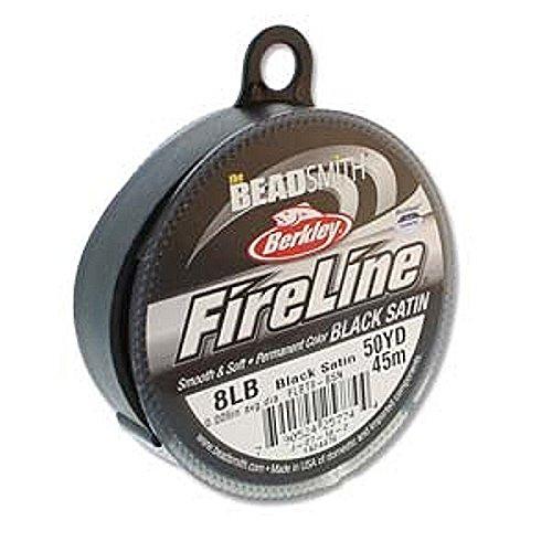 Beading Satin - Beadsmith Fireline Microfused Braided Bead Thread 8LB-strength 0.007 inch Average Dia. 50 Yards Black Satin