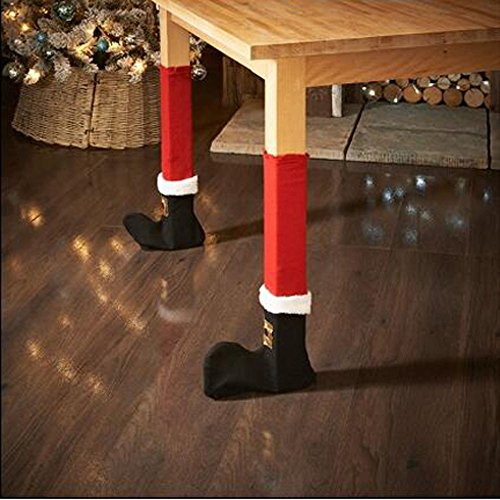 Elaco 4PC Christmas Chair Leg Foot Cover Table Christmas Decoration for Party Dinner (Red)