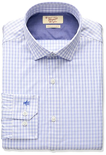 Original Penguin Men's Slim Fit Stretch Gingham Dress Shirt, Blue/White, 14.5
