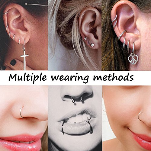 Adramata 16g Cartilage Hoop Earrings for Men Women Septum Tragus Daith Earrings Nose Piercing Jewelry by Adramata (Image #4)