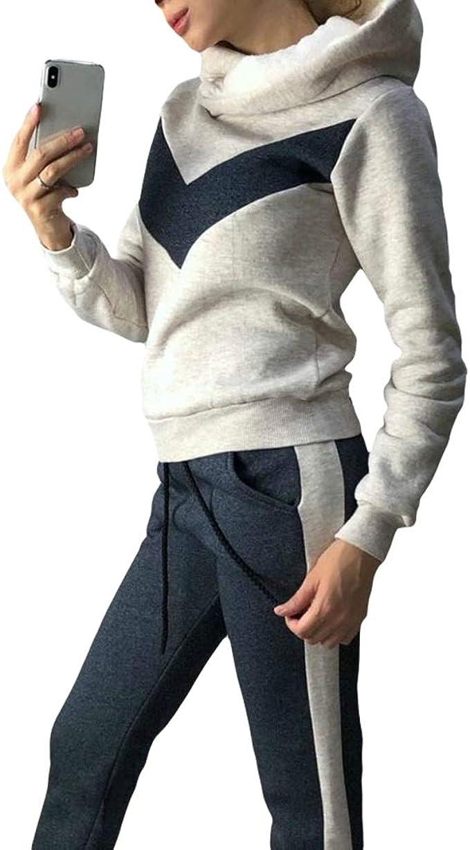 JiXuan Tuta Casual con Cappuccio Calda Tute Donna Set Felpe con Cappuccio+Set Pantaloni Sportivi Tuta Donna