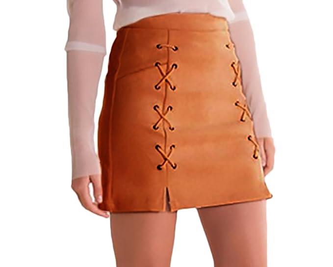 Faldas Mujer Moda Bandage Gamuza Talle Alto Una Niñas Ropa Línea Faldas  Cortas Elegantes Vintage Color Sólido Stretch Falda Recta  Amazon.es  Ropa  y ... 36b5ba0cfb89