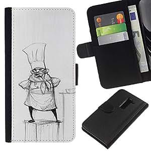All Phone Most Case / Oferta Especial Cáscara Funda de cuero Monedero Cubierta de proteccion Caso / Wallet Case for LG G2 D800 // Cook Pencil Drawing Hat Small Man Kitchen
