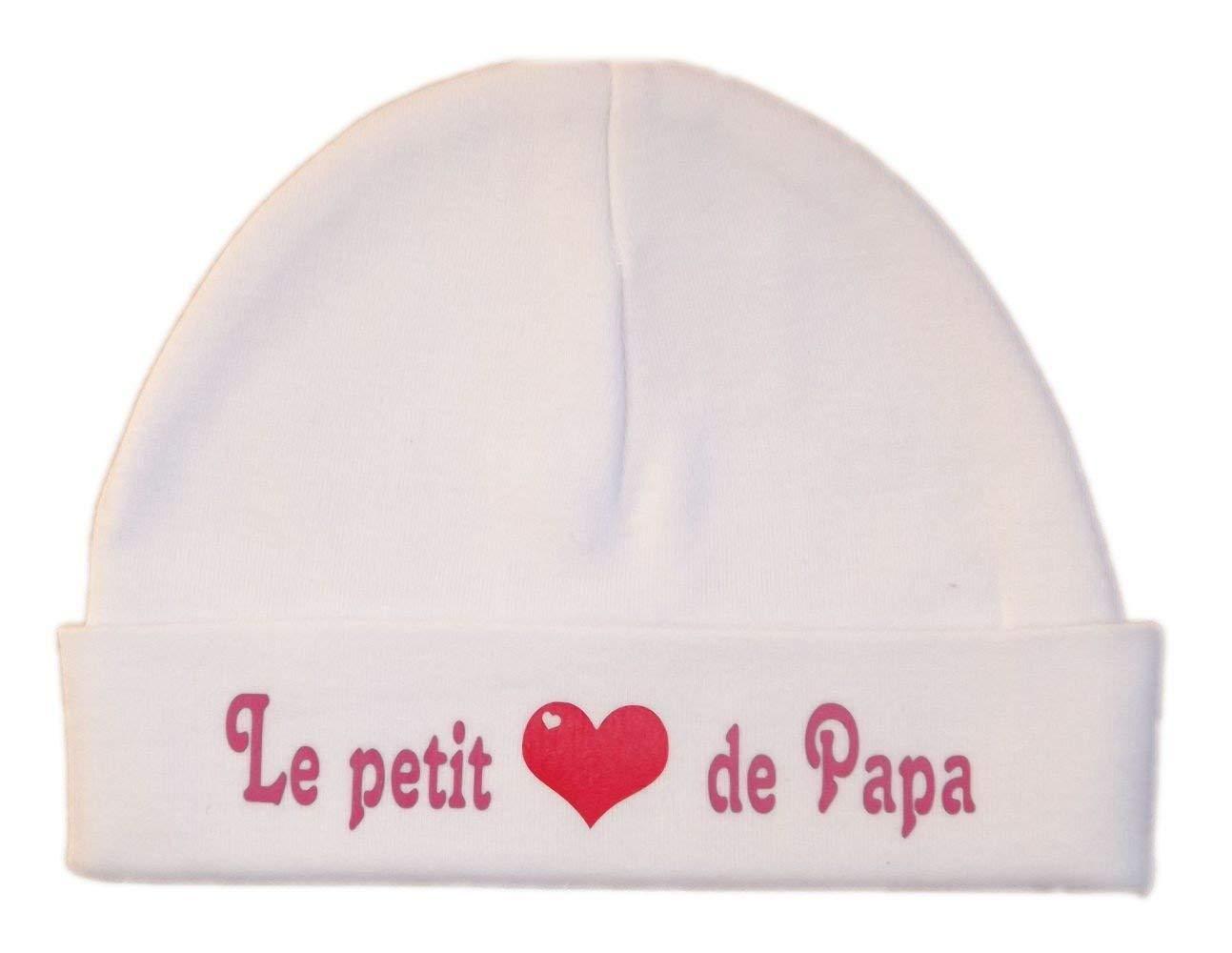 Les lutins de Camille-Bonnet naissance'le petit coeur de papa', blanc/rose (0-3 mois)
