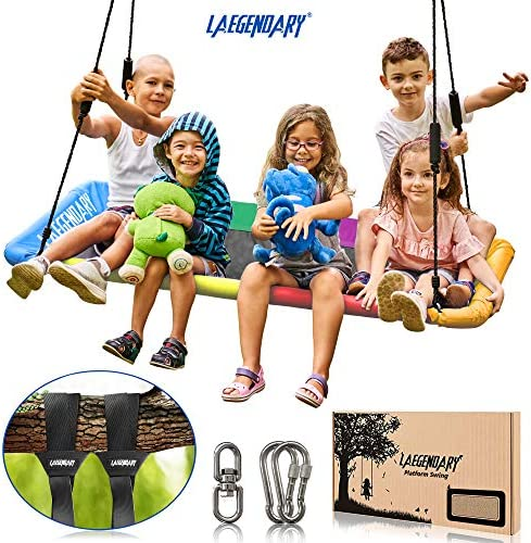 60 Inch Platform Tree Swing for Kids and Adults Giant Flying Outdoor Indoor Saucer Hammock – Large Surf Tire Swingset Accessories Toys – 2 Straps, 2 Carabiners, 1 Swivel – 600 Pounds Yard Swings Set