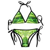 Most Fashion Maker Women Cool Light Green Weed Printing Summer Sexy Two Pieces Bathing Suits