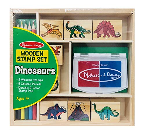 Melissa & Doug Wooden Stamp Set - Dinosaurs (Arts & Crafts, Sturdy Wooden Storage Box, Washable Ink, 14 Pieces, Great Gift for Girls and Boys - Best for 4, 5, 6, 7 and 8 Year Olds)