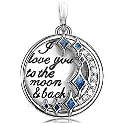 "NinaQueen ""I Love You to the Moon and Back"" 925 Sterling Silver Dangle Charms ""Best Love Gifts Valentine's Day Gifts Idea"
