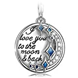 NinaQueen I Love You to the Moon and Back 925 Sterling Silver Dangle Charms for Pandöra Bracelets Necklace 3D Vivid Pandent Charm, Birthday Anniversary Pendant Gift for Her Women Girls Niece Daughter