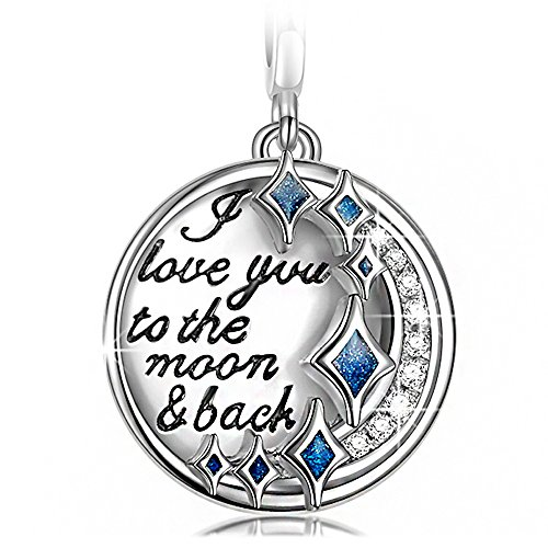 NinaQueen I Love You to the Moon and Back 925 Sterling Silver Dangle Charms for Pandöra Bracelets Necklace 3D Vivid Pendant Charm, Birthday Anniversary Pendant Valentines Day for Girls ()