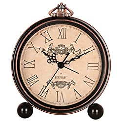 HENSE 5 Classic Retro Antique Design European Style Decorative Mantel Clock Mute Silent Quiet Quartz Movement Metal Frame Desk Table Alarm clock HA65 (Roman-Elegant)