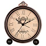 "HENSE 5"" Classic Retro Antique Design European Style Decorative Mantel Clock Mute Silent Quiet Quartz Movement Metal Frame Desk Table Alarm clock HA65 (Roman-Elegant)"