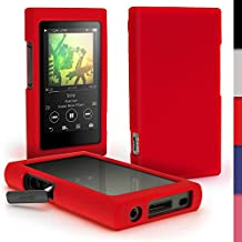 iGadgitz Red Silicone Skin Case Cover for Sony Walkman NW-A35 MP3 Player + Screen Protector