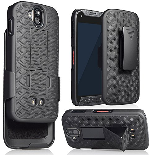 Nakedcellphone DuraForce Pro Clip Case, Black Kickstand Case + Belt Clip Holster for Kyocera Duraforce Pro (E6810, E6820, E6830, E6800) (AT&T, Sprint, Verizon, Unlocked) ()