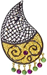 Designer Paisley Pendant with Ruby and Emerald - Sterling Silver