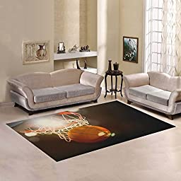 Love Nature Sweet Home Modern Collection Custom Basketball going through the basket at a sports Area Rug 5\'x3\'3\'\' Indoor Soft Carpet