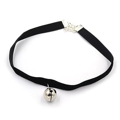 3c98d3773790c maxgoods Fine Black Velvet Choker Necklace Tiny Cat Collar Bell Gothic  Cosplay Eye Neck