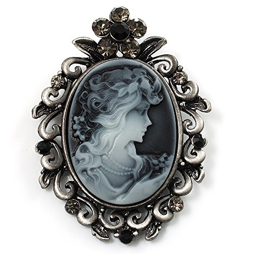 Cameo Pin Sterling Silver - Vintage Crystal Cameo Brooch (Antique Silver Tone)