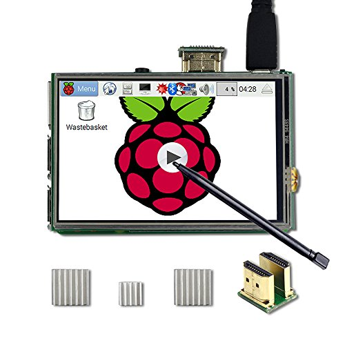 (UCTRONICS 3.5 Inch HDMI TFT LCD Display with Touch Screen, Touch Pen, 3 Heat Sinks for Raspberry Pi 3 Model B+, 3 Mode B,Pi 2 Model B, Pi B+)