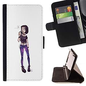 BullDog Case - FOR/LG G2 D800 / - / GIRL PUNK FUNKY EXTRAVAGANT FASHION PURPLE /- Monedero de cuero de la PU Llevar cubierta de la caja con el ID Credit Card Slots Flip funda de cuer