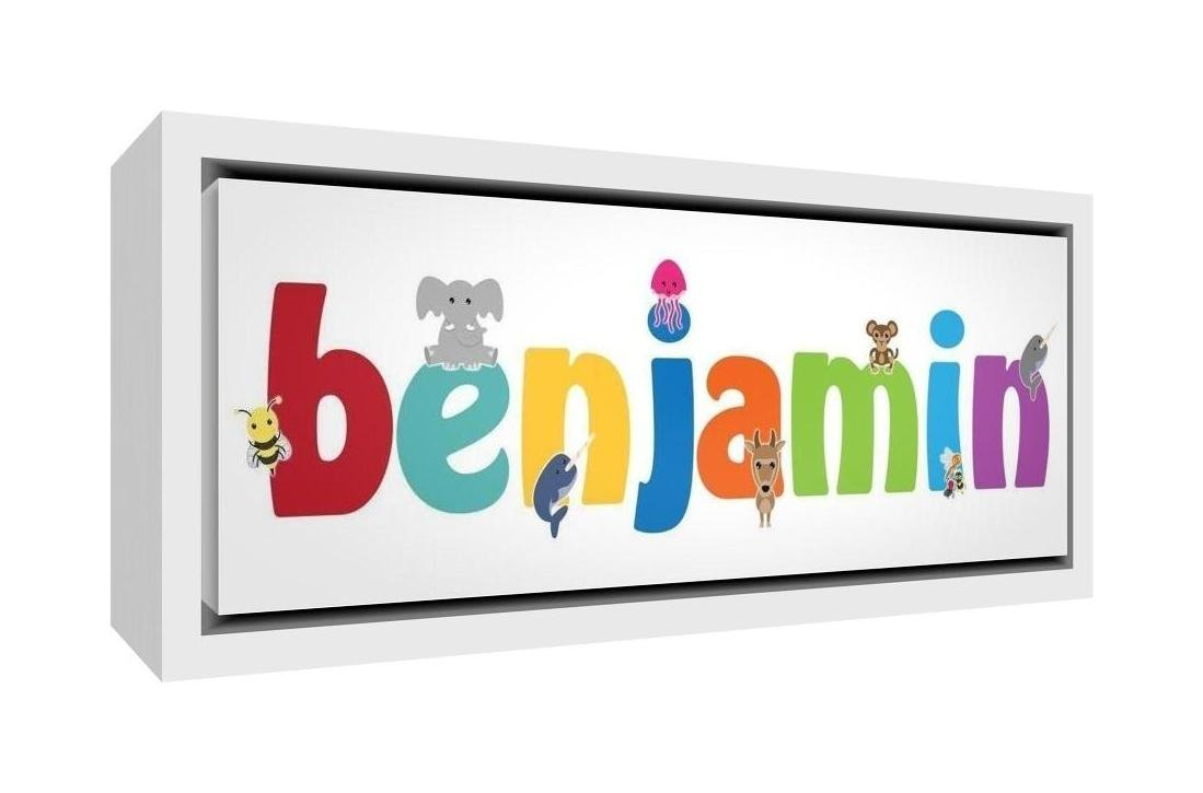 Feel Good Art Framed Box Canvas with Solid Wooden Surround in Cute Illustrative Design, Boy's Name (64 x 44 x 3 cm, Large, Benjamin) Little Helper LHV-BENJAMIN1624-FC-15
