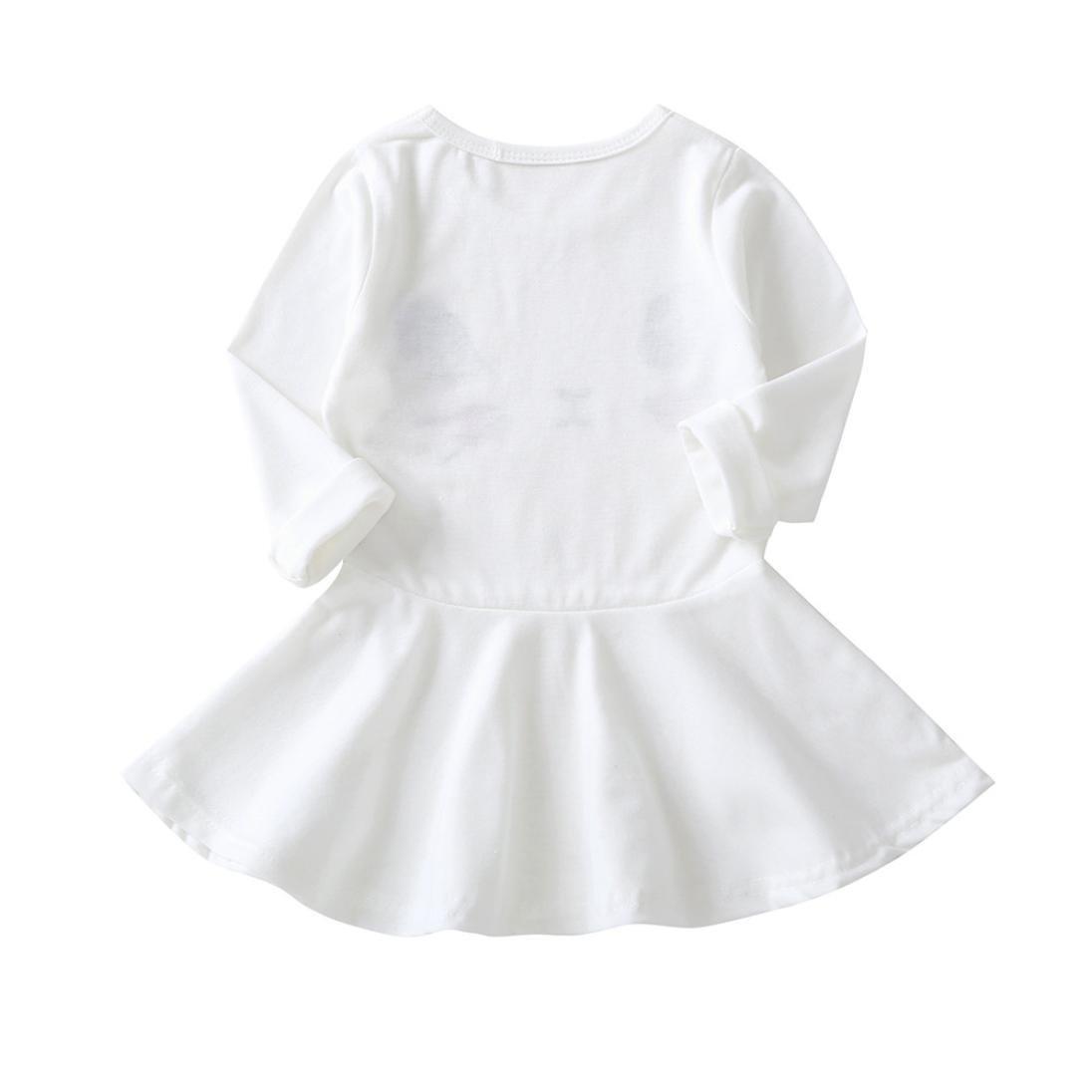 JiaMeng Ropa Ni?a de Oto?o Vestido de la Impresiš®n del Gato de los Ni?os de la Manga Larga Vestidos Ocasionales (BlancoB, 3T): Amazon.es: Ropa y accesorios